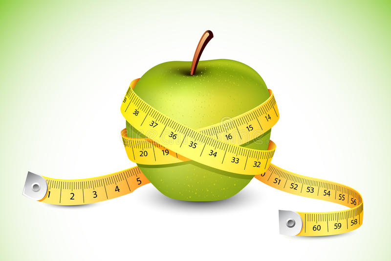 Nastro di misurazione intorno a Apple illustrazione di stock