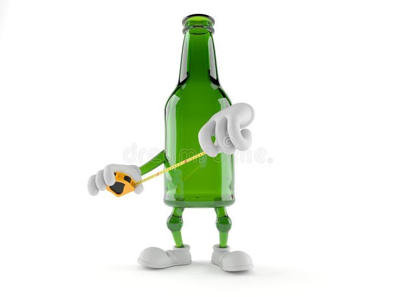 Nastro di misurazione verde della tenuta del carattere della bottiglia di vetro illustrazione vettoriale