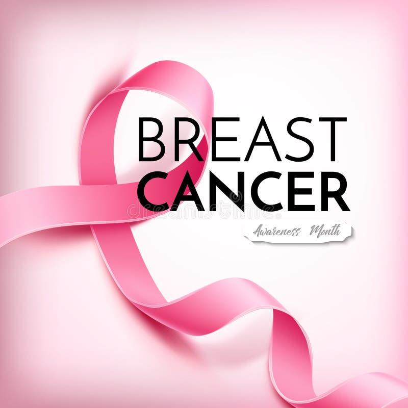 Nastro di rosa del manifesto di consapevolezza del cancro al seno di vettore royalty illustrazione gratis