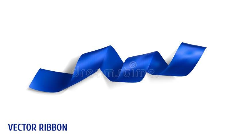 Nastro di seta realistico blu di vettore royalty illustrazione gratis
