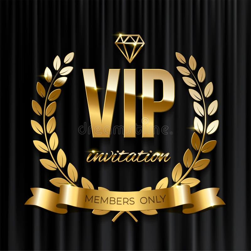 Nastro dorato con il testo della corona dell'alloro e dell'invito di VIP sul fondo nero della tenda Progettazione dell'invito di  illustrazione vettoriale