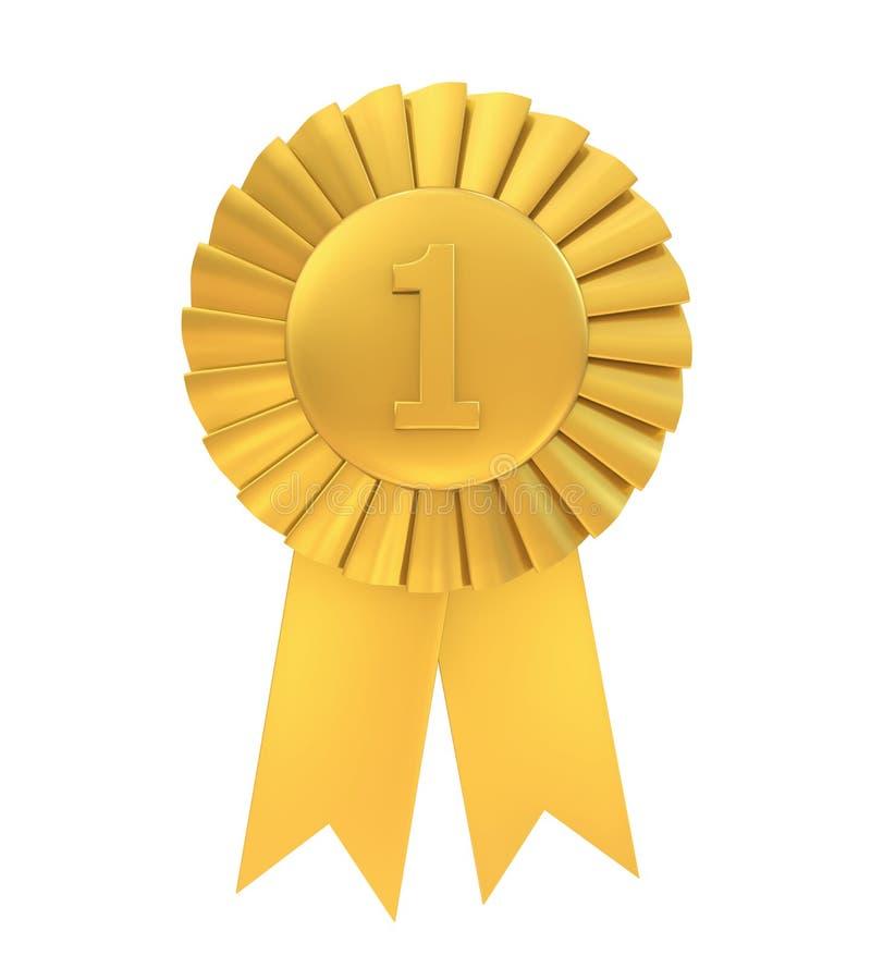 Nastro dorato del premio del primo posto isolato royalty illustrazione gratis
