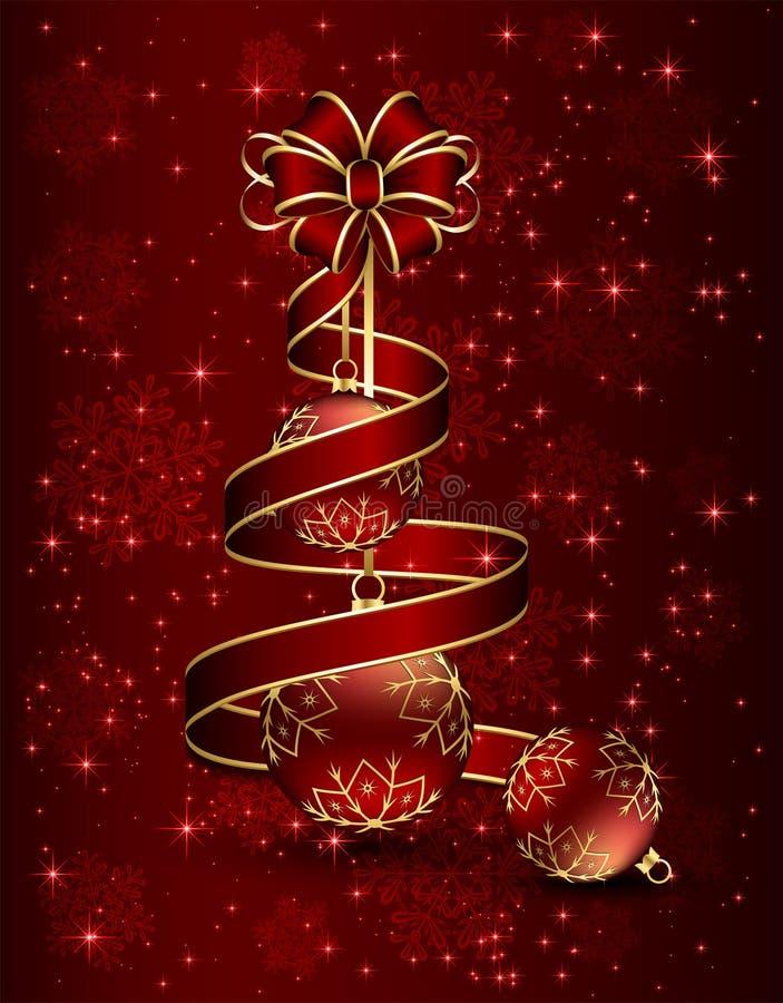 Nastro e palle rossi di Natale royalty illustrazione gratis