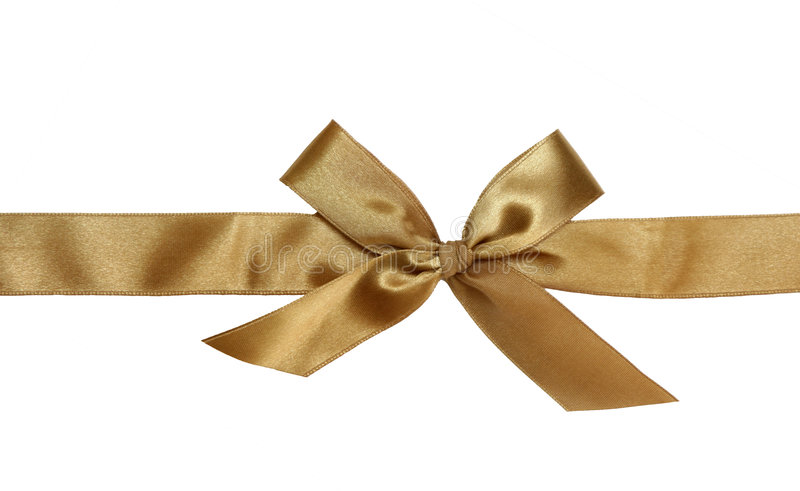 Nastro ed arco dorati del regalo fotografia stock