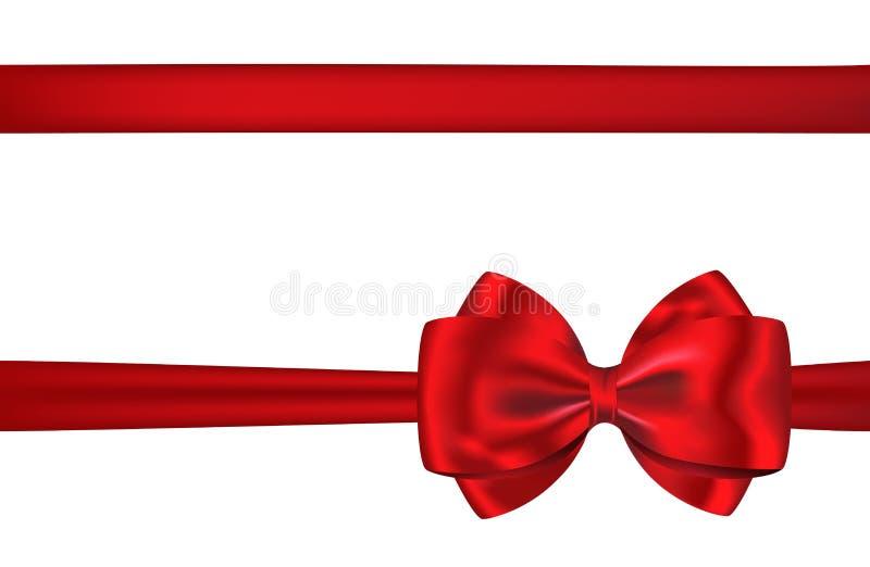 Nastro ed arco rossi della scheda di regalo per le decorazioni fotografia stock libera da diritti