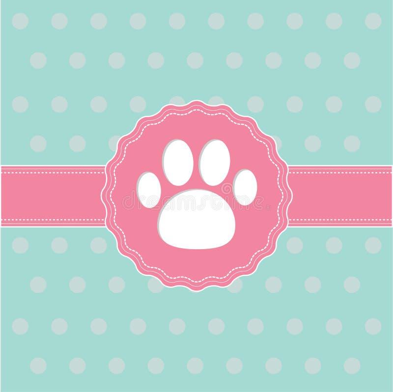Nastro ed etichetta rosa con la stampa della zampa. Carta. illustrazione vettoriale