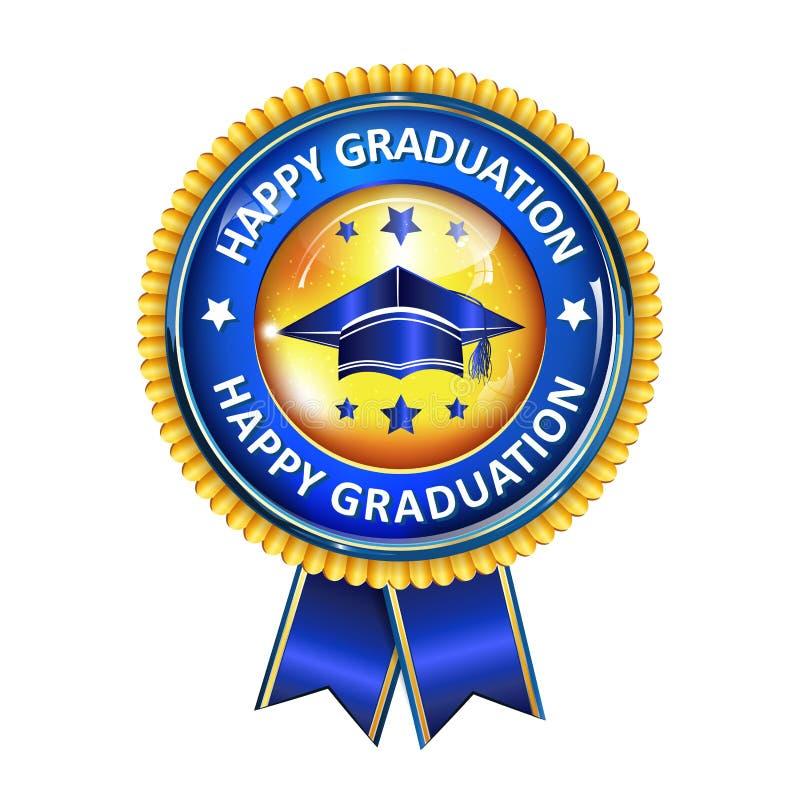 Nastro elegante del premio di graduazione felice con il cappuccio illustrazione vettoriale