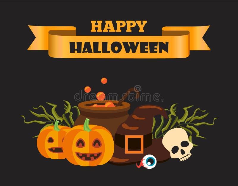 Nastro felice di Halloween sull'illustrazione di vettore illustrazione vettoriale