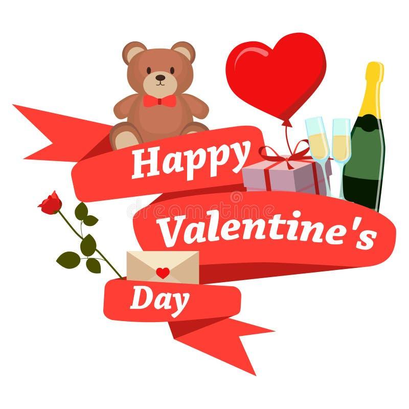 Nastro felice di rosso di giorno di biglietti di S. Valentino royalty illustrazione gratis