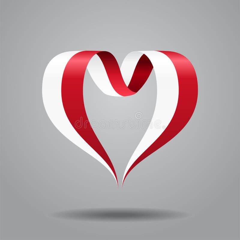 Nastro in forma di cuore della bandiera polacca Illustrazione di vettore illustrazione di stock