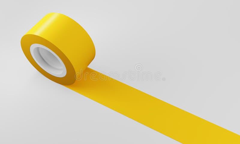 Nastro giallo del nastro di isolamento illustrazione di stock
