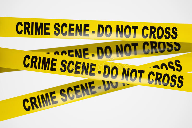 Nastro giallo della scena del crimine su priorità bassa bianca fotografie stock libere da diritti