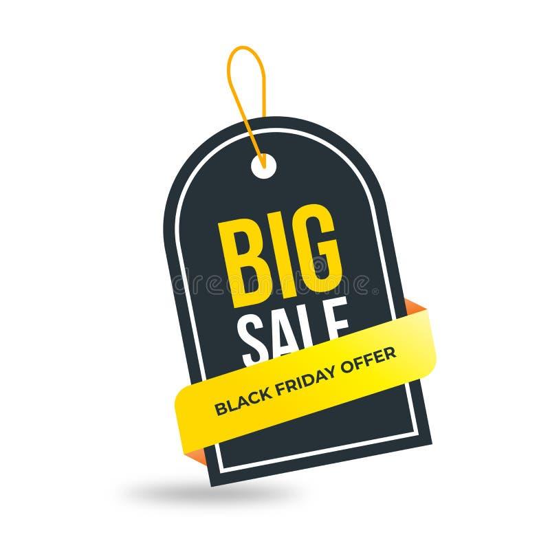 Nastro giallo sull'etichetta nera Progettazione del modello dell'insegna di vendita Offerta speciale di grande vendita Insegna di illustrazione di stock