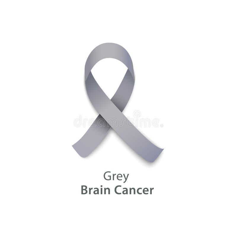 Nastro grigio per l'evento di carità di consapevolezza del tumore al cervello illustrazione vettoriale