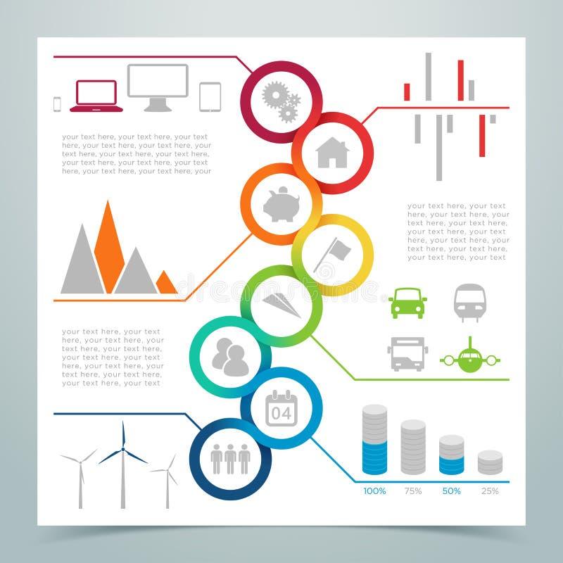 Nastro Infographic 3 del cerchio dell'estratto 8 illustrazione di stock