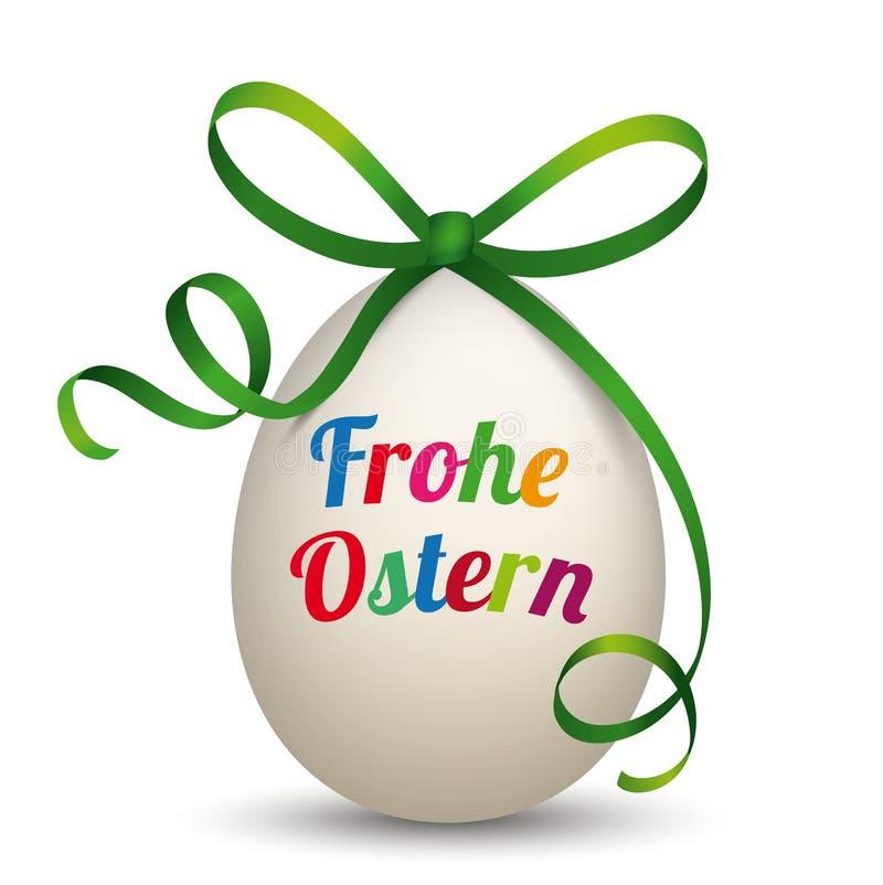 Nastro naturale Frohe Ostern di verde dell'uovo illustrazione di stock
