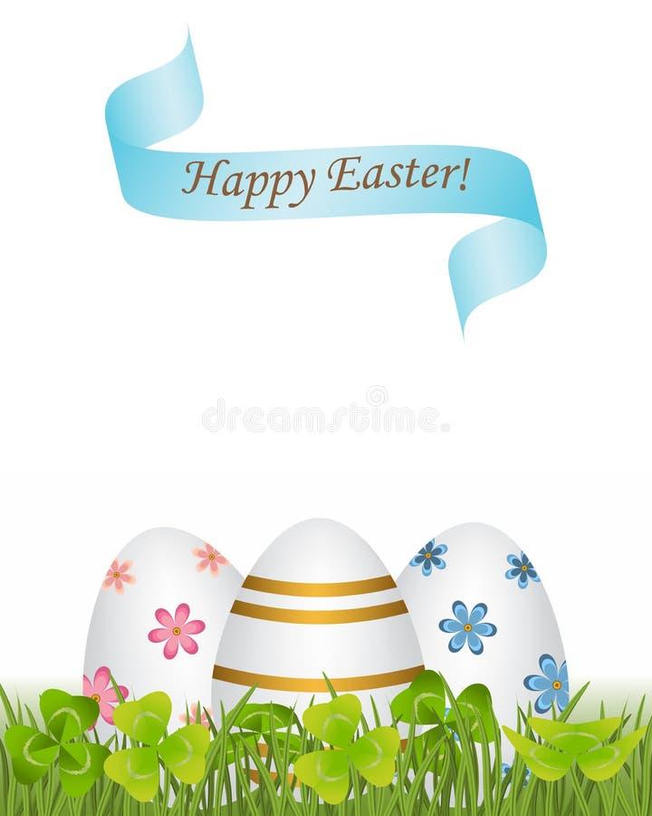 Nastro Pasqua felice Uova modellate variopinte e differenti nel gr illustrazione di stock