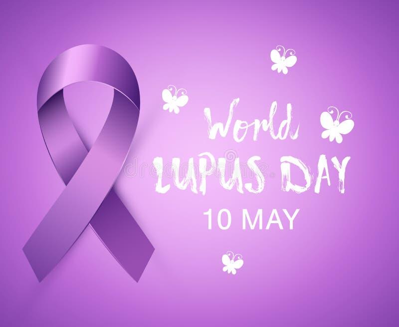 Nastro porpora realistico di consapevolezza al mondo Lupus Day Insegna medica viola luminosa di Lupus Cancer illustrazione di stock
