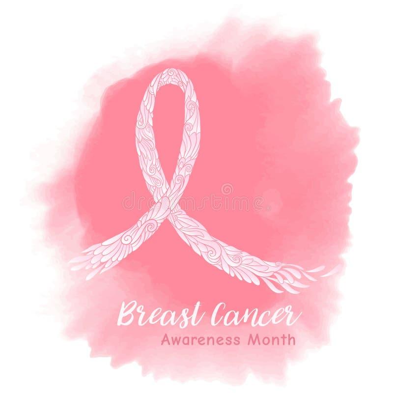 Nastro rosa decorativo di mese di consapevolezza del cancro al seno sul watercol royalty illustrazione gratis