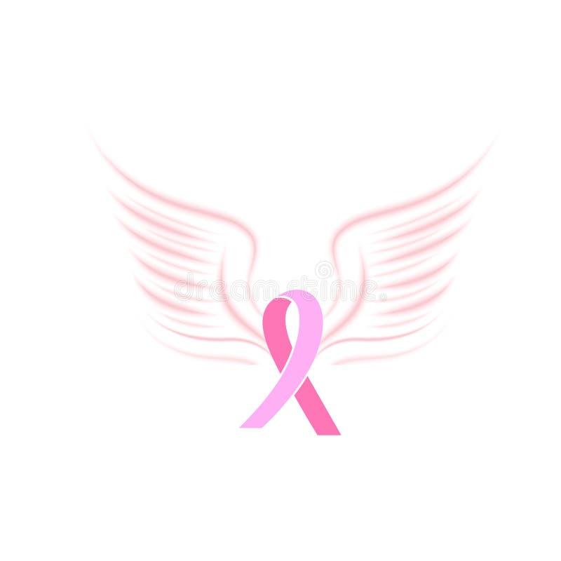 Nastro rosa del raso con le ali dell'uccello Concetto nazionale di mese di consapevolezza del cancro al seno illustrazione di stock