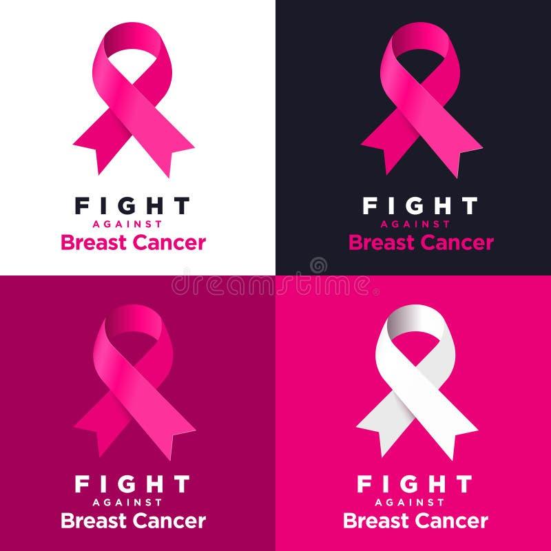 Nastro rosa di vettore sui vari ambiti di provenienza Lotta contro cancro al seno illustrazione vettoriale