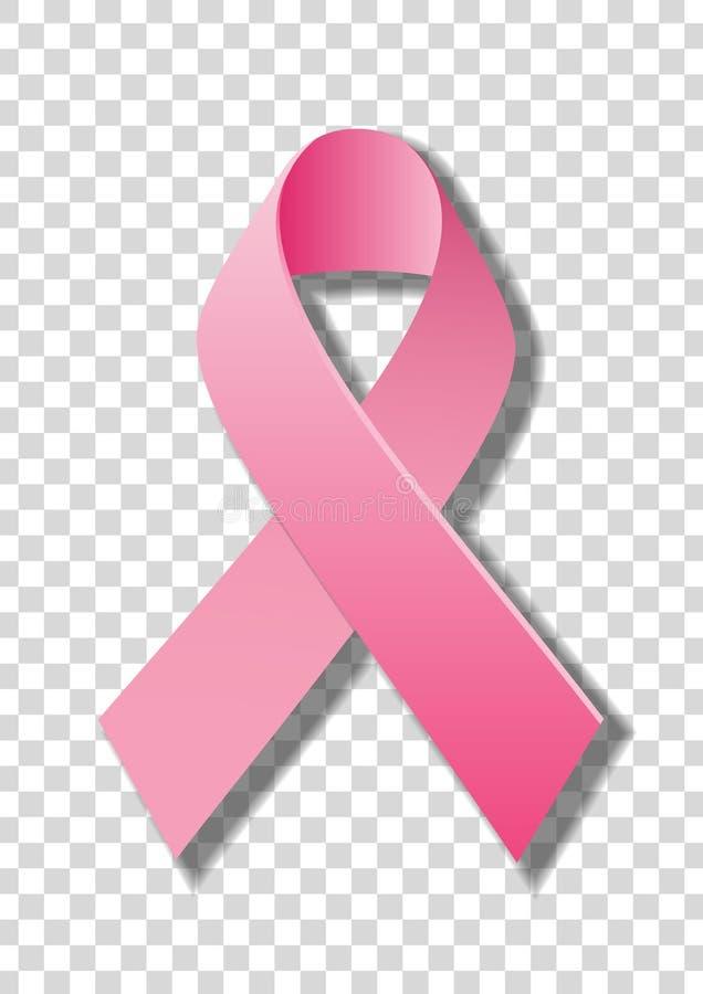 Nastro rosa realistico, simbolo di consapevolezza del cancro al seno, isolato su fondo trasparente illustrazione di stock