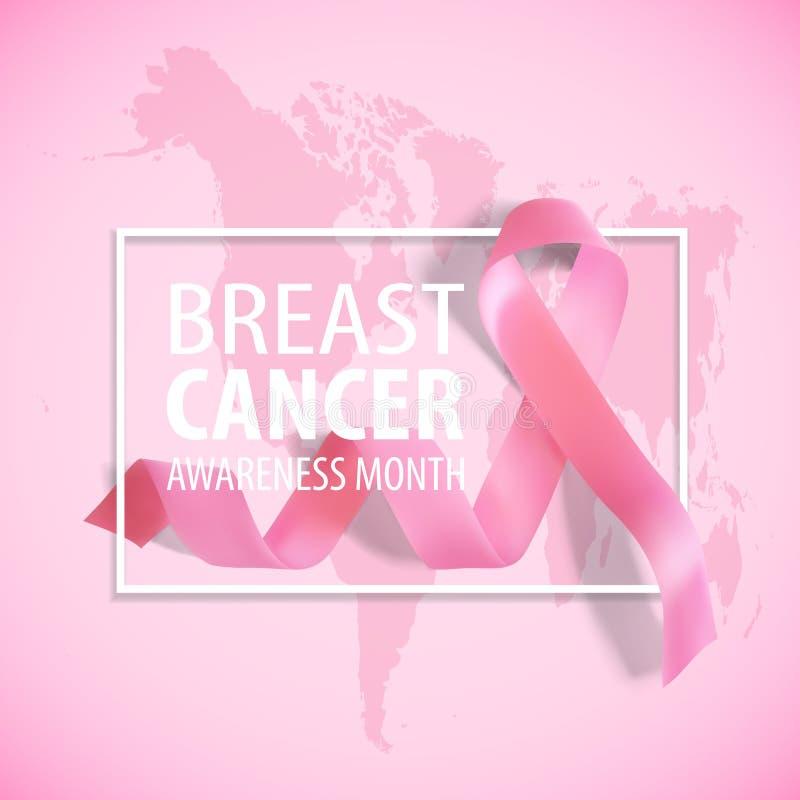 Nastro rosa realistico Simbolo di consapevolezza del cancro al seno su fondo rosa con la mappa di mondo Illustrazione di vettore illustrazione vettoriale