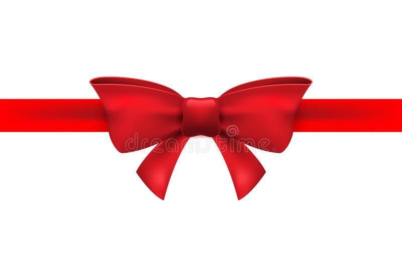 Nastro rosso con l'arco rosso su un fondo bianco Decorazione dell'arco isolata vettore per il presente di festa Elemento del rega illustrazione di stock