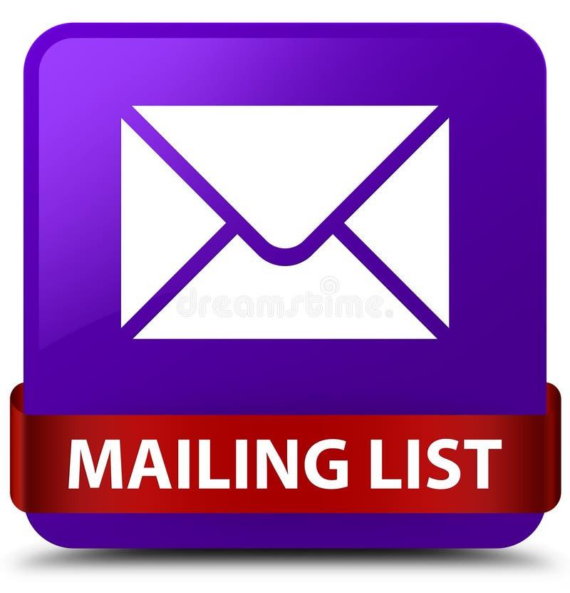 Nastro rosso del bottone quadrato porpora dell'elenco di indirizzi nel mezzo illustrazione di stock