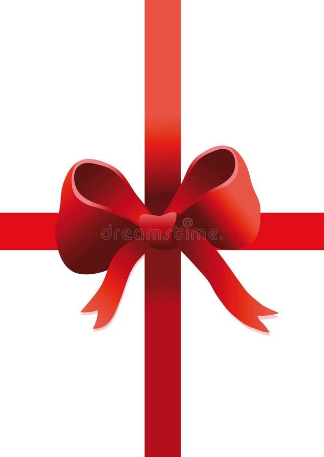 Nastro rosso del regalo su bianco illustrazione vettoriale