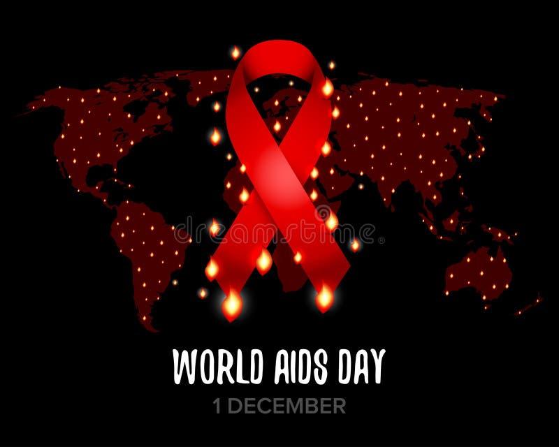 Nastro rosso di consapevolezza degli aiuti con testo per la Giornata mondiale contro l'AIDS del 1° dicembre Programma di mondo Il illustrazione vettoriale