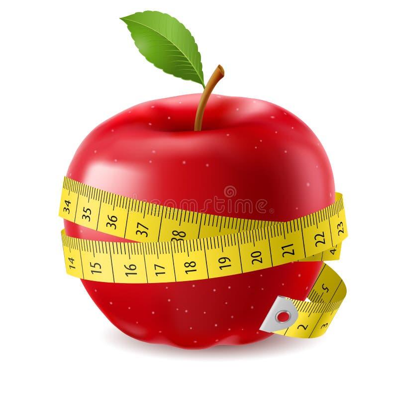 Nastro rosso di misura e della mela royalty illustrazione gratis
