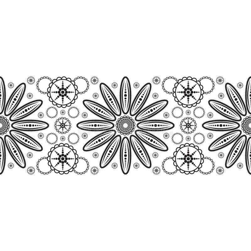 Nastro senza cuciture con il fiore astratto illustrazione vettoriale