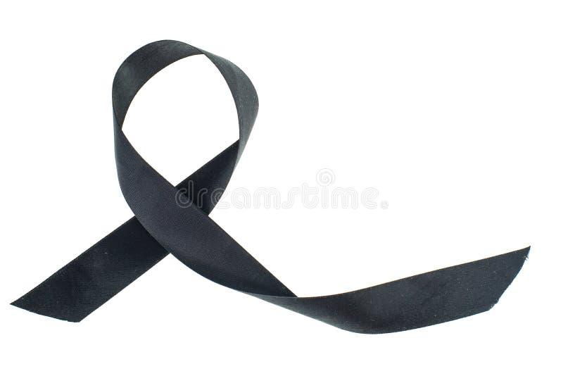 Nastro-simbolo nero della lotta contro il melanoma ed il cancro di pelle immagini stock