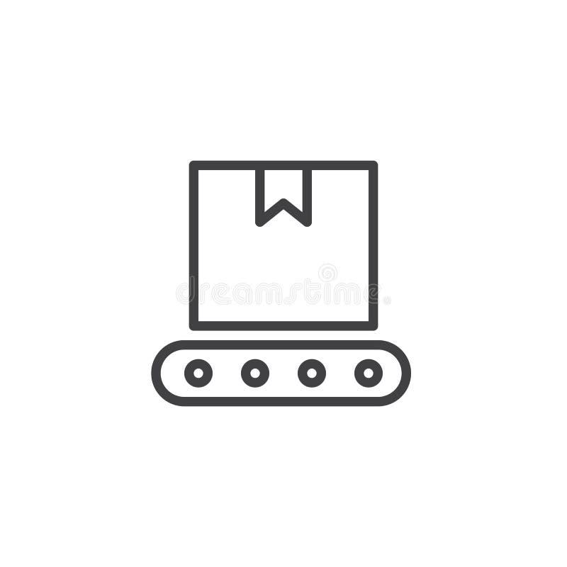 Nastro trasportatore con la linea icona della scatola illustrazione di stock