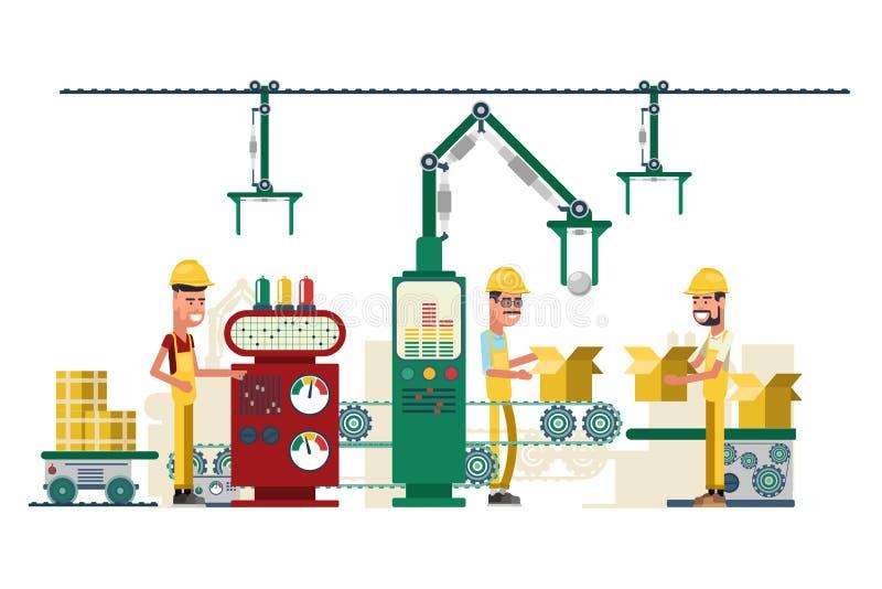 Nastro trasportatore di produzione della fabbrica di vettore con il personale di funzionamento royalty illustrazione gratis