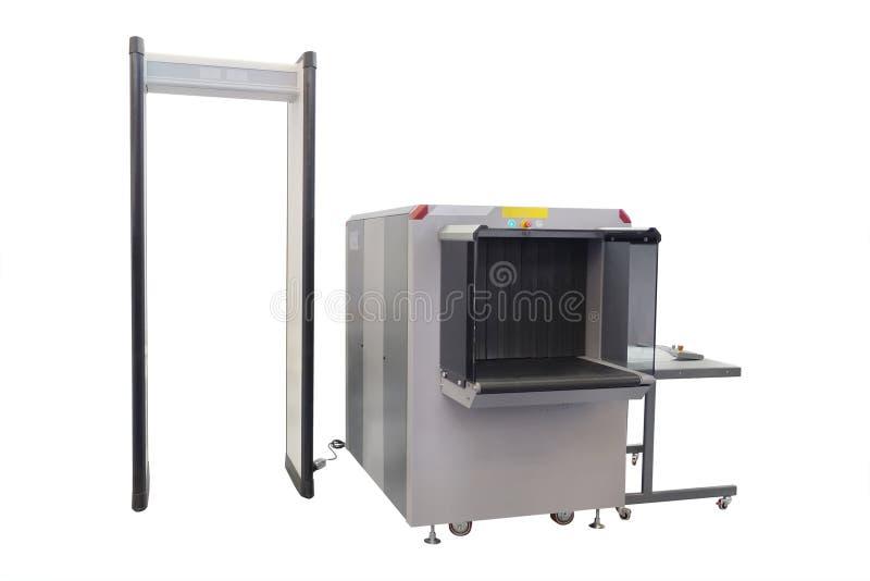 Nastro trasportatore e metal detector immagine stock