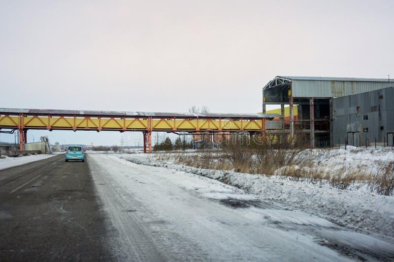 Nastro trasportatore per il trasporto del carbone a Berezovskaia TPP fotografia stock