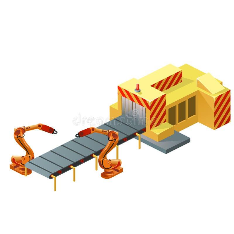 Nastro trasportatore robot isolato su fondo bianco Illustrazione del primo piano del fumetto di vettore royalty illustrazione gratis