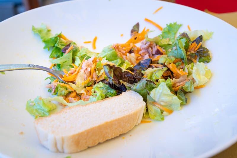 Nastrojony i sałatkowy talerz z chlebem obraz royalty free