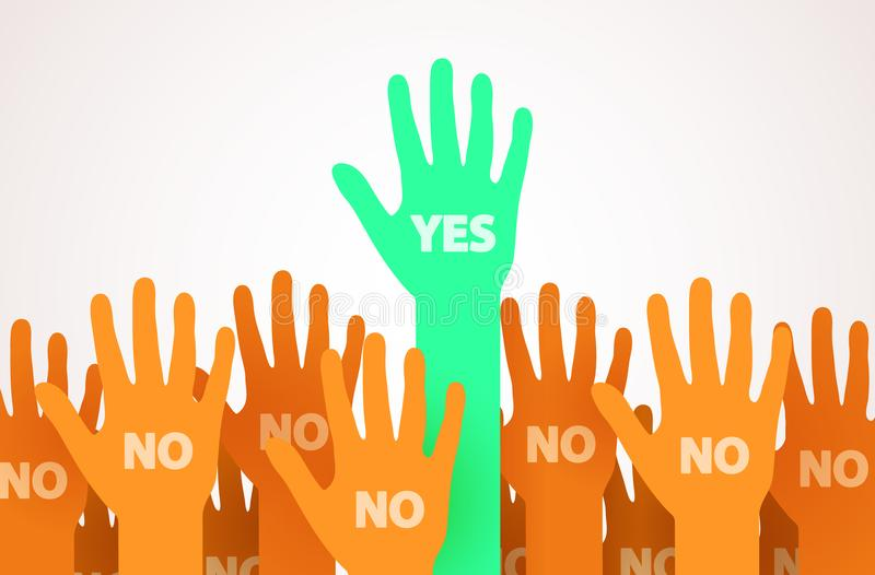 Nastroszone ręki z jeden indywidualnością lub unikalną osobą mówi Tak Jeden lider tłum Głosować lub ochotniczy pojęcie ilustracji