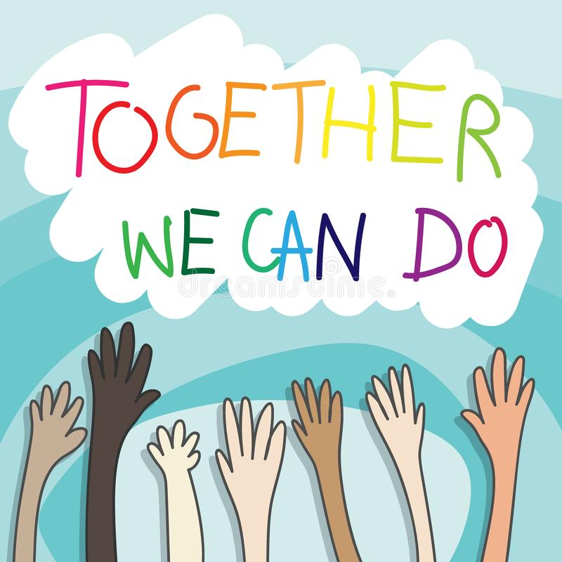 Nastroszone r?ki zg?asza? si? na ochotnika poj?cie współpraca z ludzie w różne narodowości podnosić rękach w górę teksta możemy r ilustracji