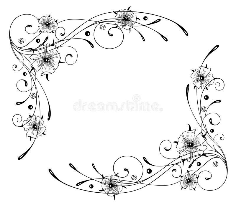 Nasturcja, kwiaty, rama ilustracji