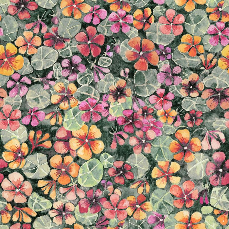 Nasturtium flowers with leaves in subdued colors. Seamless aged pattern. Watercolor painting. Hand drawn illustration. royalty free illustration