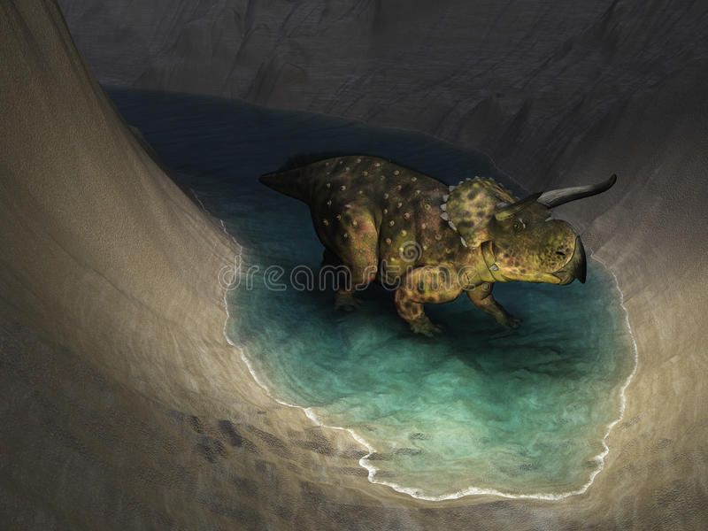 Nasutoceratops Exploring a Cavern. A Nasutoceratops dinosaur exploring a cavern - 3d render royalty free illustration