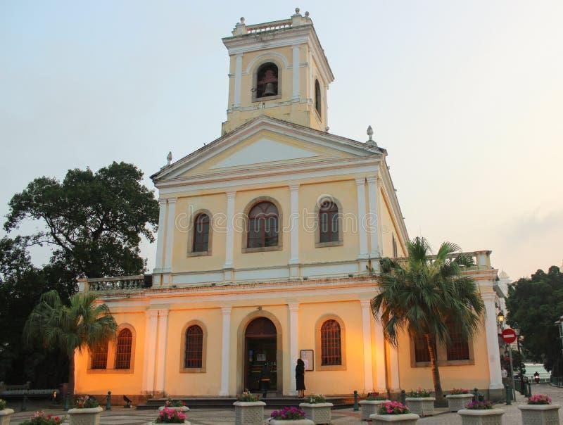 Nasz dama Carmel kościół przy zmierzchem, Macau obraz royalty free