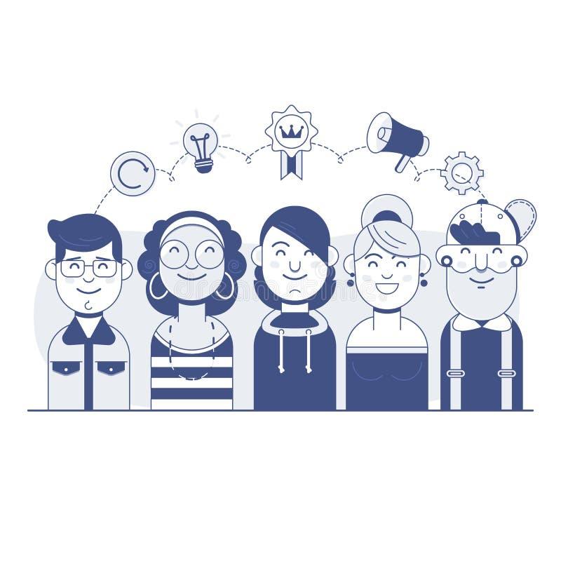 Nasz sukces drużyny Liniowy projekt Praca zespołowa i biznes zespalamy się, grupa ludzie biznesu Cienki kreskowy płaski projekta  ilustracja wektor