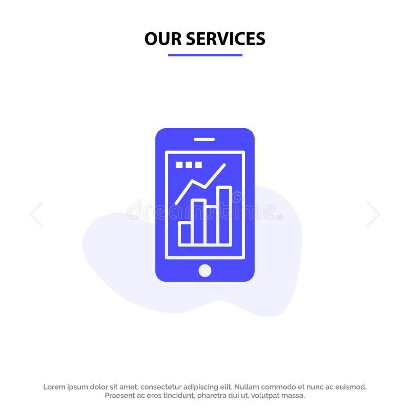 Nasz szablon karty sieci Web z ikonami glifów pełnych usług, analiz, informacji, rozwiązań mobilnych i rozwiązań mobilnych ilustracja wektor