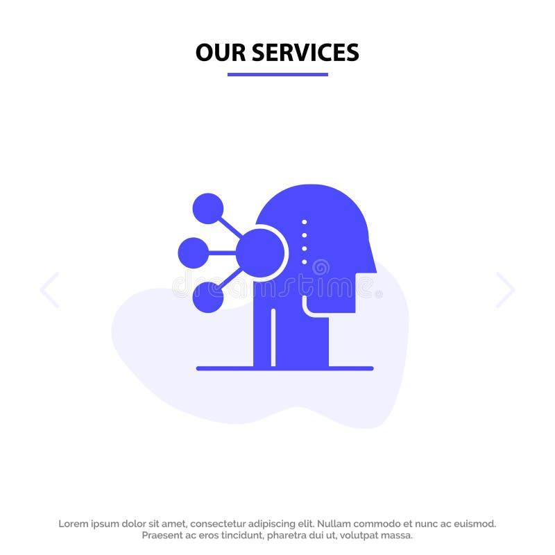 Nasz usług zdolność, asortyment, koncentracja, Ludzki Stały glif ikony sieci karty szablon royalty ilustracja