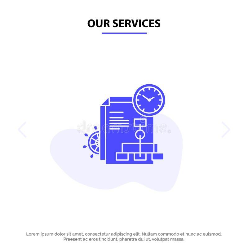 Nasz usługa czas, kartoteka, raport, Biznesowy Stały glif ikony sieci karty szablon royalty ilustracja